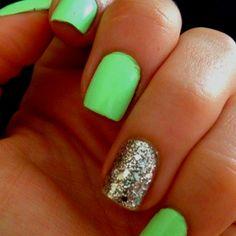 Neon mint & sparkle. summer nails