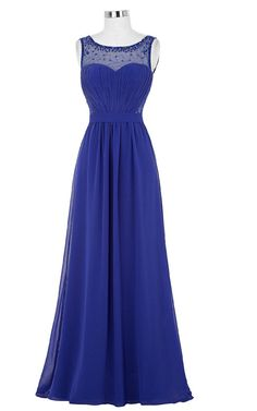Royal Blue A Line Pleated Beading Ruched Sleeveless Floor Length Chiffon Long Prom Dress