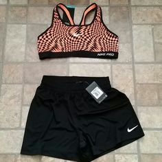 Nike shorts with sports bra Brand new never worn shorts xs and bra L  runs small last day to purchase will be Friday Nike Shorts