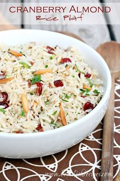 Almond cranberry rice pilaf from valeries home cooking recipes from food network cranberry almond rice pilaf the perfect easy side dish recipe for thanksgiving dinner forumfinder Gallery