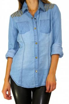 10mm brass round or iron-on ………………………….. chambray studded shirt