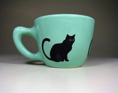 12oz cup black cat blue green Made to Order / by CircaCeramics, $32.00