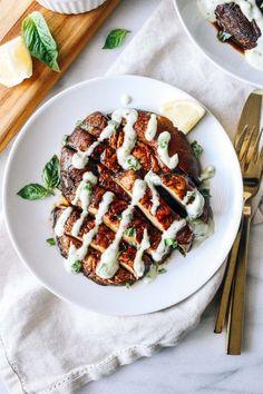 Portobello Steaks with Pesto Aioli | Vegan, dairy free, gluten free, paleo, and vegetarian. | Click for healthy recipe. | Via Making Thyme For Health