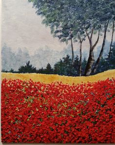 Sue Clark painted this poppy field from the Youtube using the texture method for the flowers in the tutorial. Notice how well he trees fade into the background, and the varried height of the darker pine trees Great Job Susan,  thanks for sharring, www.gingercooklive.gallery