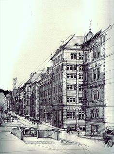 by flaf some great perspective & architectural  drawing. #twopoint #technical #architecture