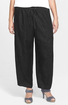 Eileen Fisher Wide Leg Organic Linen Ankle Pants (Plus Size) available at #Nordstrom