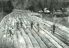 The mighty log rafts of the old new world - tough work - tough men - https://www.thevintagenews.com/2016/01/14/46093/