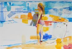 """I took this photograph of a girl assessing the waves at WindnSea beach in La Jolla, CA. It was a bright and beautiful Sunday morning with the perfect waves just calling her name. Titled """"Sunday Surf"""". Matted and framed to an 18″ x 14″ size."""