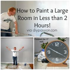 How to paint a large room in less than 2 hours via diypassion.com