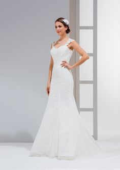 Vestido de Noiva de Eglantine Créations (Pin-up), corte sereia, decote princesa, longo, sem mangas