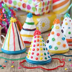 A birthday party wouldn't be complete without birthday hats and cake -- and now you can combine the two! These colorful cone-shape cakes are perfect for celebrating any birthday or special occasion. Decorate them with your favorite candies in fun graphic patterns, and don't forget to add a licorice string as a finishing touch! If you want to customize the flavor, substitute another variety of cake batter or crusting buttercream frosting.