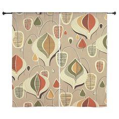 "Vintage Mid Century Tan Barkcloth 60"" Curtains by Admin_CP1903001"