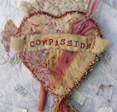 Milagro of Compassion  - i actually like the stitched title on this one very much, with its tattered edges, also all very nice  ***********************************************   pip814, via Flickr - #mixed #media #fabric #collage t√