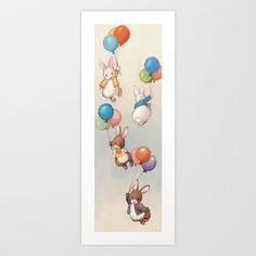 Flying+Bunnies+Art+Print+by+Delphine+Doreau+-+$19.99