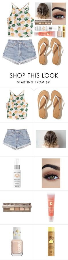 """""""Summer"""" by kellyaguilera ❤ liked on Polyvore featuring WithChic, Hollister Co., Levi's, Apple & Bears, Urban Decay, Lancôme, summerstyle and summer2017"""