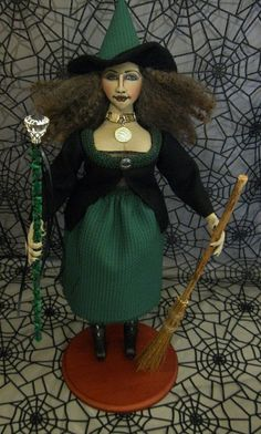 Witch Doll  Irish Witch Doll with Broom and by  Bethann Scott of thestitchfiddler on Etsy
