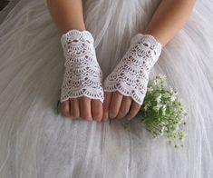 BUTTERFLY Crochet Fingerless Lace Bridal Gloves in by elfinhouse