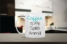 Coffee is My Spirit Animal Ceramic Coffee Mug  by Powerful Righteous Mother Ceramic Coffee Mug by Mug A Love on Etsy. Anything can be customized for no additional cost! Many Colors to choose from! Ships out same day! ONLY $12 using Coupon Code: PINITDEC