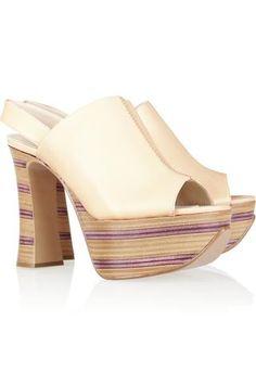 Chloé   Striped wooden heel leather platform sandals