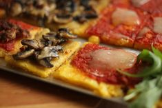 Polenta Pizza [Could even do a mexican polenta pizza w/ enchilada sauce, chicken, olives, cheddar]