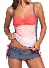 Spaghetti Strap Color Block Swimwear Set | Rosewe.com - USD $27.65
