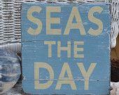 Beach Decor - Beach Sign - SEAS THE DAY - Coastal Decor - Wall Hanging - Wood - Beach Theme - Nautical Decor - Painted - Beach Home