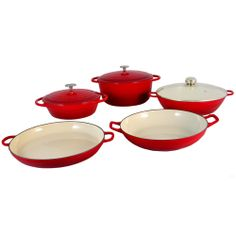Fancy Cook 8 Piece Light Enamel Cast Iron Red Cookware Set Item #: FC8PCR2TBE This 8 Piece Cookware Red Set is colorful and stylish cookware set elegantly present the warmth and care that goes into preparing a meal. http://julieannsboutique.com/item/kitchenware/-fancy-cook-8-piece-light-enam/lid=33733673