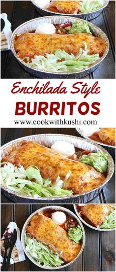 Enchilada Style Burritos is an easy to make and delicious meal where piping hot tortillas are stuffed with cheese, sauce, beans and rice.