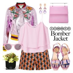"""Summer bomber (jacket)"" by pensivepeacock ❤ liked on Polyvore featuring Hervé Gambs, Gucci, Christian Louboutin, MANGO, M2Malletier, Bounkit and Sunday Somewhere"