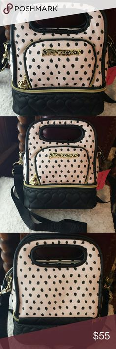 Betsy Johnson NWT Pink/ Black Xbody Lunch Tote Betsy Johnson NWT Blush Pink and Black with White Dots Top Handle  and Crossbody Bag, Insulated compartments on top and bottom with zipper front compartment and Zip Closure. Betsy Johnson  Bags Crossbody Bags