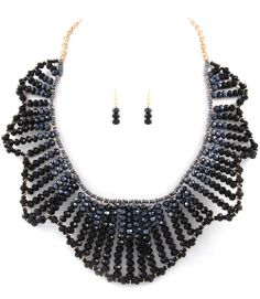 Black Beaded Collar Necklace Earrings Set - $25