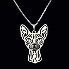 Sphynx Cat Face Cut Out Shaped Pendant Necklace in Silver | Animal Jewelry