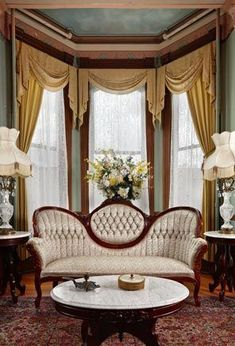 double parlor extends 24 by 14 feet with a bay window as the focal point on one side.The double parlor extends 24 by 14 feet with a bay window as the focal point on one side. Victorian Curtains, Victorian Windows, Victorian Rooms, Victorian Home Decor, Victorian Parlor, Victorian Interiors, Victorian Furniture, Victorian Houses, Victorian Architecture