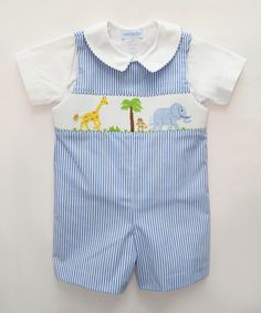 Look what I found on #zulily! Vive La Fête Blue Stripe Safari Shortalls & White Top - Infant & Toddler by Vive La Fête #zulilyfinds