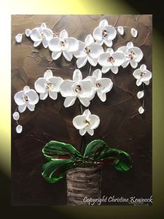 ORIGINAL Abstract Textured Painting Orchids by ChristineKrainock, $245.00