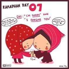 """{#Ramadan - jour 7} Dis """"je suis désolé(e)"""" et """"Je te pardonne"""". Cela peut être très dur. Surtout quand on a un ego boursouflé. Mais #ramadhan est l'occasion de se réformer n'est-ce pas ?"""