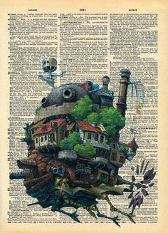 Howls Moving Castle Original Studio Ghibli Print on an Antique Upcycled Bookpage. via Etsy.