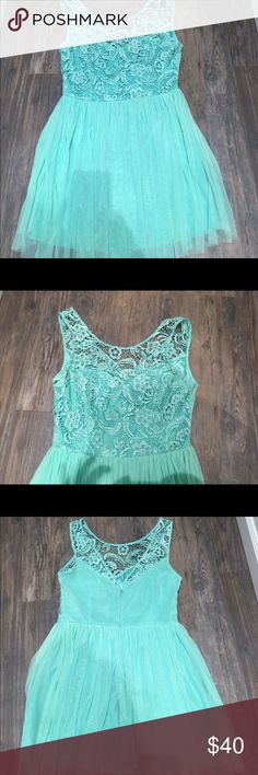 Turquoise lace dress Mod Cloth Dress Super adorable dress! Worn twice for two special occasions. Size 10 fits nicely and flattering. Small flaw in back of dress but not noticeable at all. Included a close up of it. Make an offer :) ModCloth Dresses Midi