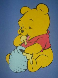"Baby Winnie the Pooh Eating Honey.  ""Winnie the Pooh and Friends"""