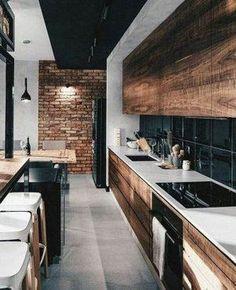 Modern Kitchen Interior 44 Modern Apartment Interior ideas that Grab Everyone's Attention Kitchen Room Design, Modern Kitchen Design, Home Decor Kitchen, Interior Design Kitchen, New Kitchen, Kitchen Wood, Kitchen Ideas, Interior Ideas, Awesome Kitchen
