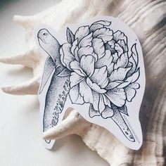 Pleased dotwork turtle with open peony bud shell tattoo design