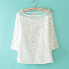 Sweet Round Collar Net splicing Half Sleeve Lace Blouses