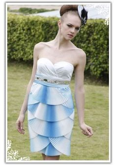 Sweetheart Pleated Bodice and Layer Fan-shaped Short Skirt