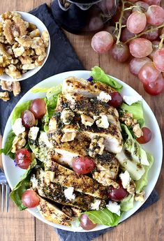 New Year Eats: Grilled Chicken Salad with Grapes and Goat Cheese | BHG Delish Dish @Better Homes and Gardens