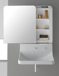 Minimalist sink mirror for bathroom by Sanindusa Front View