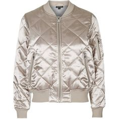 TopShop Shiny Quilted Bomber ($86) ❤ liked on Polyvore featuring outerwear, jackets, topshop, bomber, pink, brown jacket, quilted bomber jacket, topshop jacket, brown quilted jacket and pink jacket