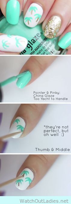 Cute and fun DIY Palm Tree Nail Art tutorial for summer