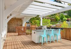 outdoor kitchen with turquoise barstools