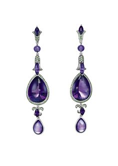 A stylish pair of amethyst and tsavorite earrings