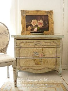 Marie-Antoinette, Shabby blue chest of drawers - Furniture for French dollhouse in 1:12th scale on Etsy, $96.17